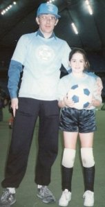 U9 Christmas tournament circa 1988. Dad/daughter combo rocking it.
