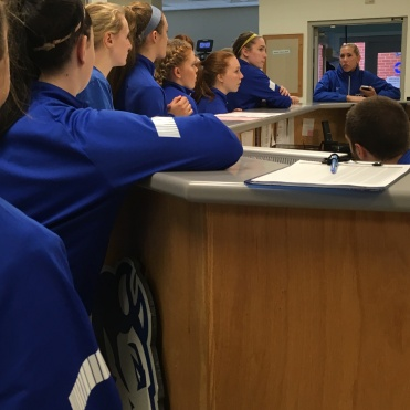 The Kirby United girls listening to D1 CCSU Assistant Coach and former female pro player, Jen Prozzo